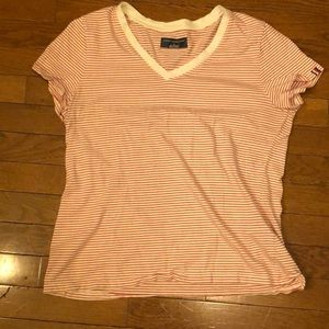 Red and White Striped Tommy Hilfiger V-Neck
